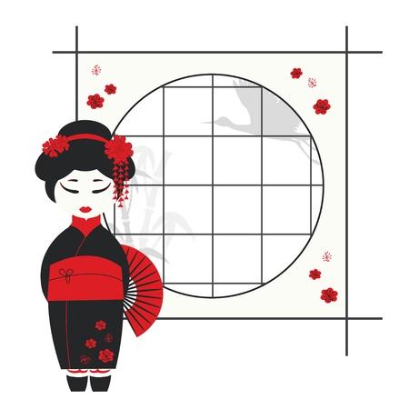 kabuki: illustration of a geisha girl with fan