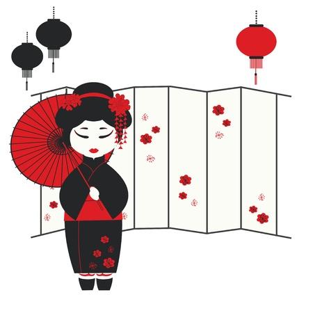geisha girl: illustration of a geisha girl with umbrella