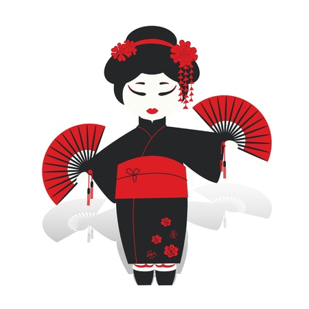 Geisha girl dancing with fans isolated on white Illustration