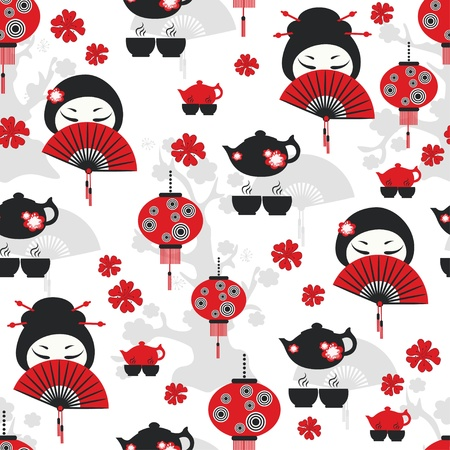 japan culture: East tea time seamless pattern