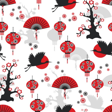 spring in japan: East seamless pattern