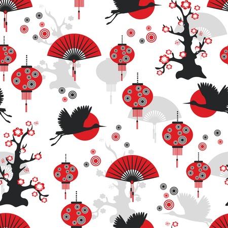 eventail japonais: Est seamless pattern Illustration