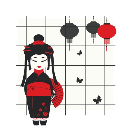 illustration of a geisha girl with fan Vector