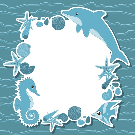 Sea background with marine life Vector