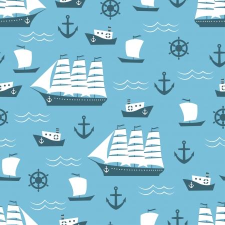 baby swim: Seamless background with sailing ship Illustration