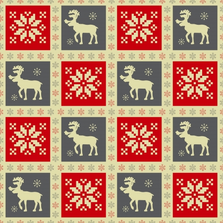 knitted background: Christmas seamless pattern with reindeer