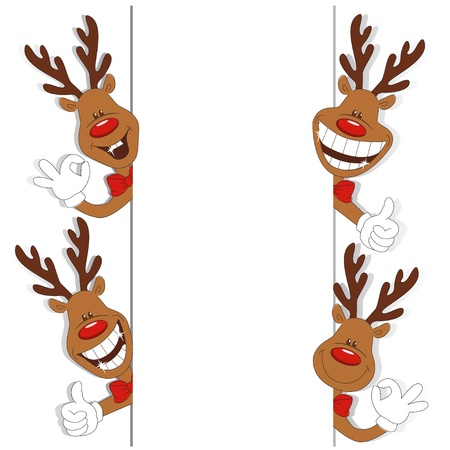 funny christmas: Vector illustration of cartoon Christmas deer and place for text