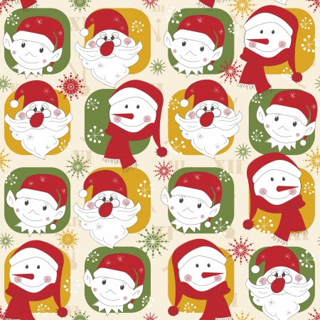 Colorful Christmas pattern transparente avec personnage de No�l