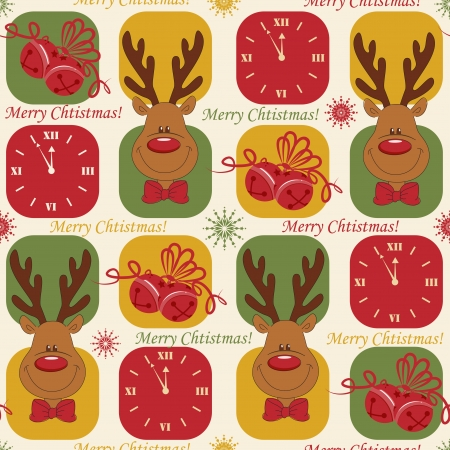 Colorful Christmas pattern seamless with clock,  deer and bells Vector