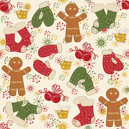 drawing on the fabric: Colorful Christmas pattern seamless with  bells, mittens and socks