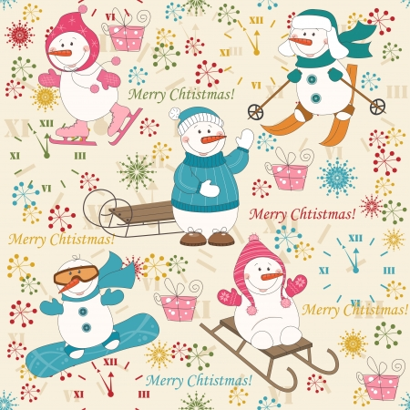 winter sports: Colorful Christmas pattern seamless with  winter sport snowman