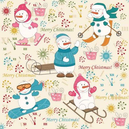winter fun: Kleurrijke Kerst patroon naadloze met wintersport sneeuwpop Stock Illustratie
