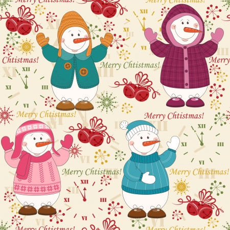 seasonal clothes: Colorful Christmas pattern seamless with  cute snowman dressed winter clothing Illustration