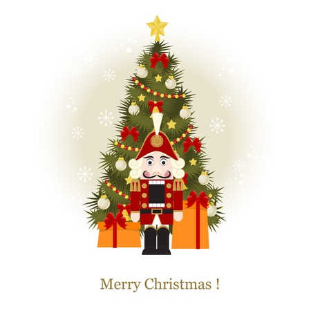 Christmas greeting card with Christmas Tree and nutcracker Illustration
