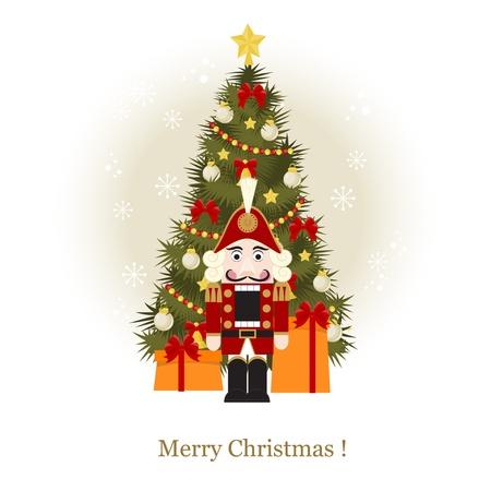 nutcracker: Christmas greeting card with Christmas Tree and nutcracker Illustration