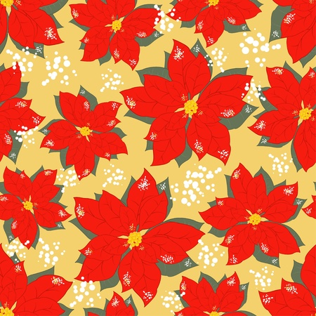 Christmas seamless pattern with Christmas flowers Vector