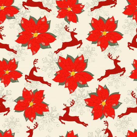 Christmas seamless pattern with Christmas flowers and reindeer Illustration