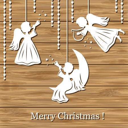 angel girl: Christmas background with angels cut of paper on wood