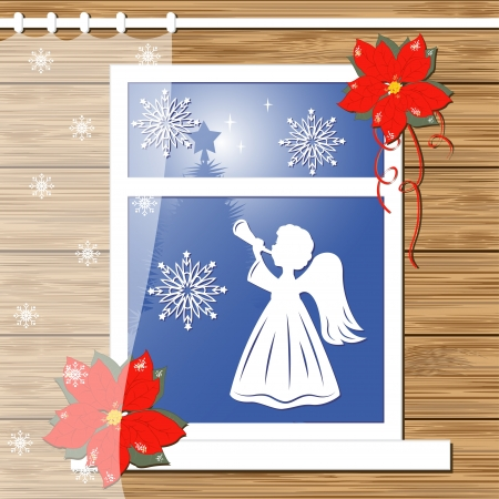 Christmas greeting card with decor windows Vector