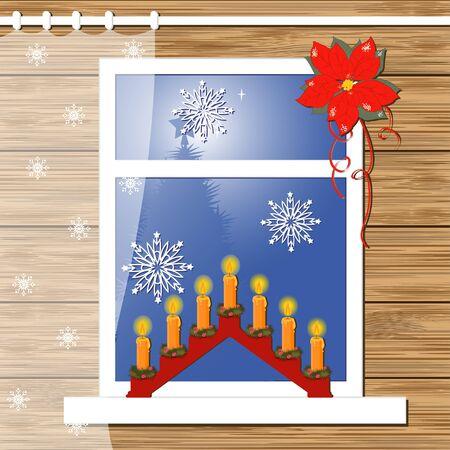 window wood: Christmas greeting card with decor windows