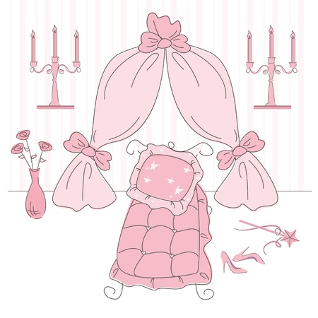 lady with the lamp: Vector illustration of a  princess bedroom