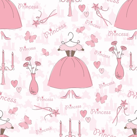 Seamless pattern with accessories of a princess Vector