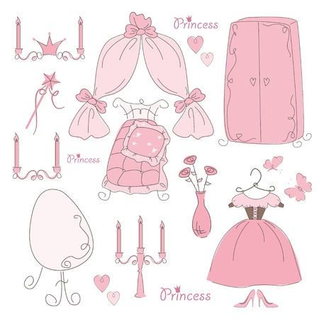 medieval dress: Set of  furniture and accessory princess