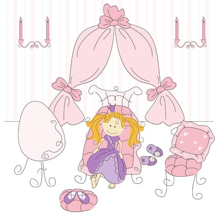 Vector illustration of a  princess bedroom Vector