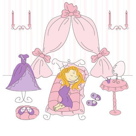 woman sleep: Ilustraci�n vectorial de un dormitorio de princesa