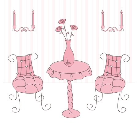 Vector illustration of a  princess living room Vector