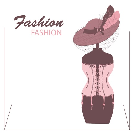 manikin: Retro corsets and a  hat with feathers on the mannequin Illustration