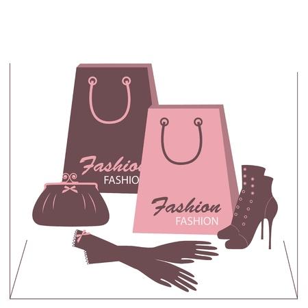 shoe box: Retro fashion shoes, gloves and handbags. Hand drawing illustration. Illustration