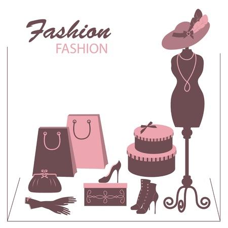 shoe boxes: Storefront tienda de moda con accesorios mujeres. Mano ilustraci�n dibujo.