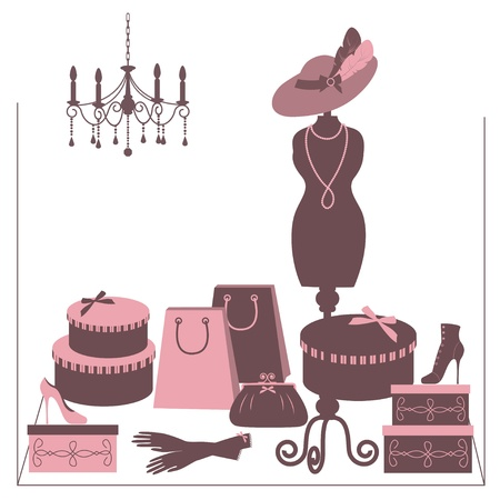 Storefront fashion shop with women accessory. Hand drawing illustration. Vector