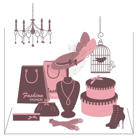 boudoir: Storefront fashion shop with women accessory. Hand drawing illustration. Illustration