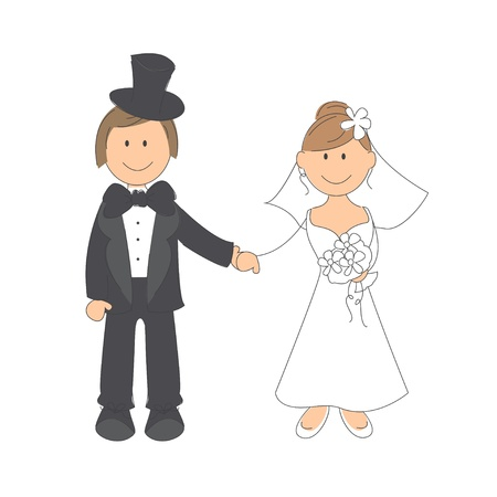 woman holding card: Wedding couple on white background   Hand drawing illustration
