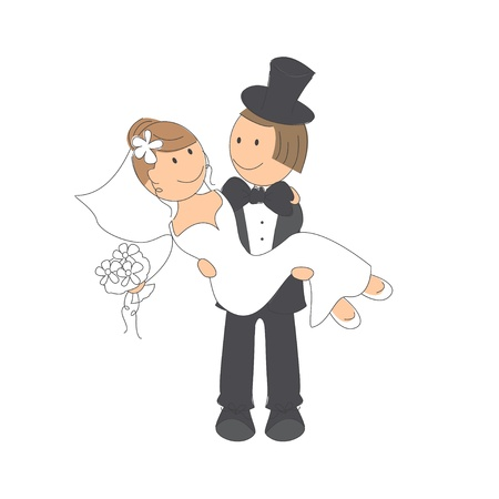 couple embrace: Wedding couple on white background   Hand drawing illustration
