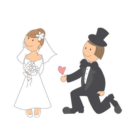 흰색 배경에 손을 그리기 그림 웨딩 커플 일러스트