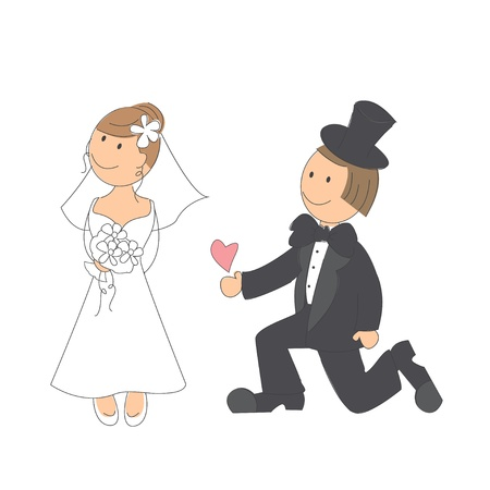 Wedding couple on white background   Hand drawing illustration  Stock Vector - 16332347