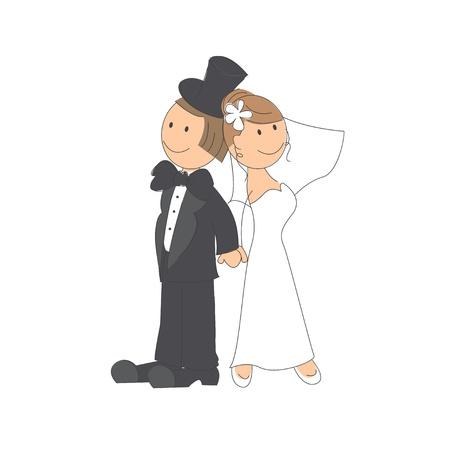 engagement cartoon: Wedding couple on white background   Hand drawing illustration