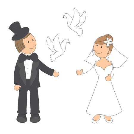 Wedding couple sur fond illustration dessin blanc � la main