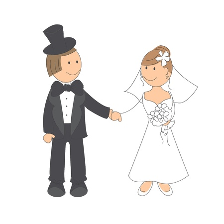 Wedding couple on white background   Hand drawing illustration Stock Vector - 16332350