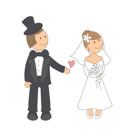 engagement party: Wedding couple on white background   Hand drawing illustration