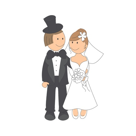 Wedding couple on white background   Hand drawing illustration