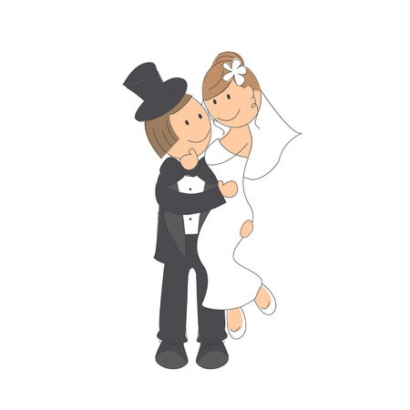 Wedding couple on white background   Hand drawing illustration  Stock Vector - 16332346