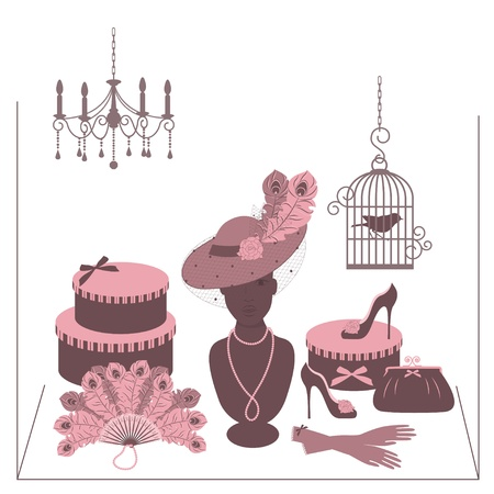 birdcage: Storefront fashion shop with women accessory  Hand drawing illustration