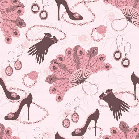Retro fashion seamless  pattern  with women accessory  Hand drawing   イラスト・ベクター素材
