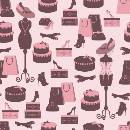 shoe box: Retro fashion seamless  pattern  with women accessory  Hand drawing  Illustration