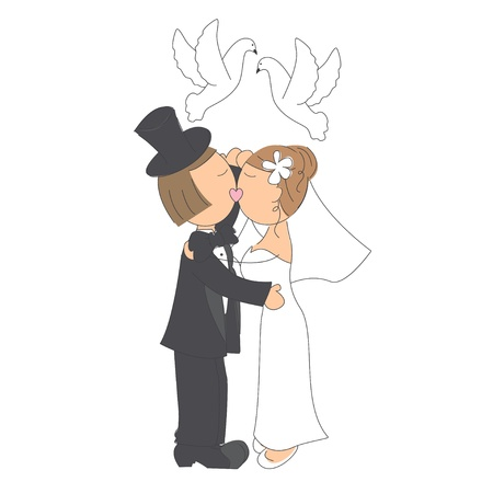 Wedding couple kissing on white background, hand drawing illustration Vector