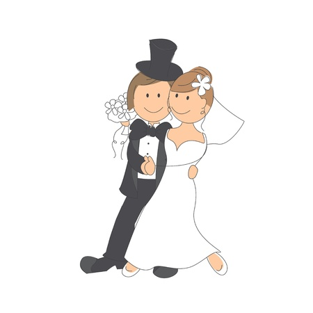 engagement party: Wedding couple on white background Hand drawing illustration Illustration